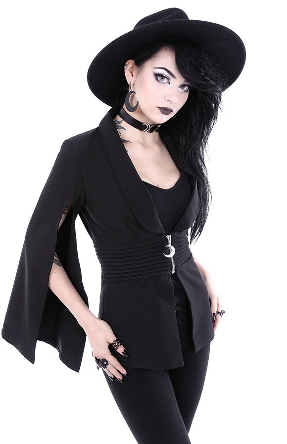 "Gothic jacket with cape sleeves and moon zipper ""GODDESS JACKET"""