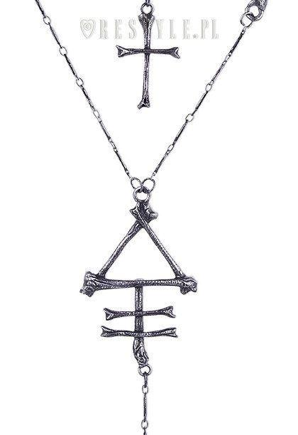 "Gothic long chain, cross, bones ""PHOSPHORUS BONE necklace"""