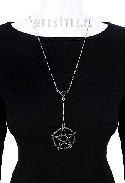 "Gothic long chain, nature, silver color ""BRANCH PENTAGRAM necklace"""