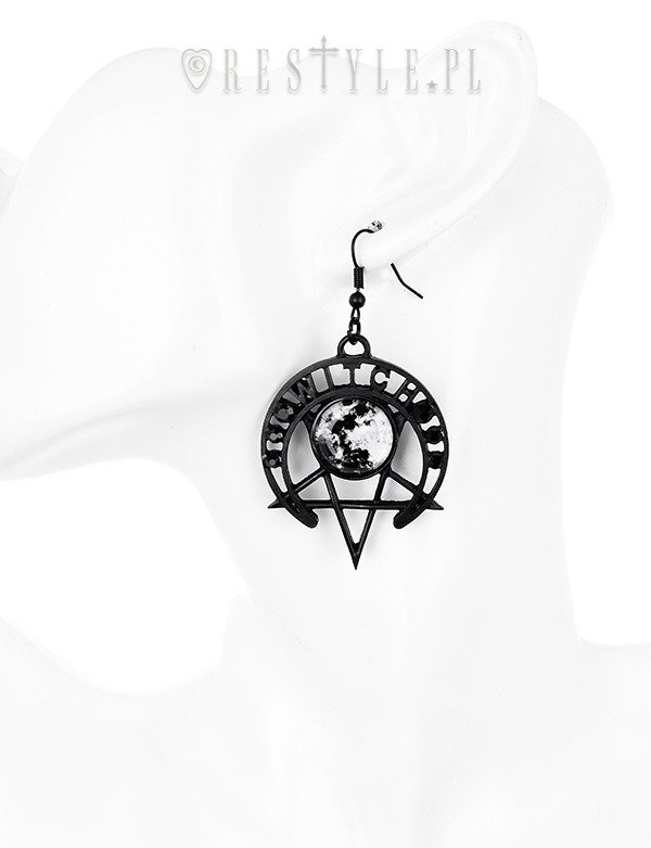 "Gothic moon earrinngs, Pentagram jewellery ""WITCH MOON EARRINGS"""