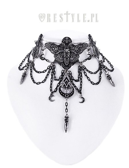 "Gothic necklace, Occult jewellery, moon moth ""OCCULT MOTH CHOKER"""