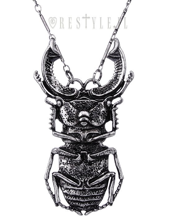 "Gothic necklace arsenic, occult jewellery, Insect pendant ""BEETLE SILVER necklace"""