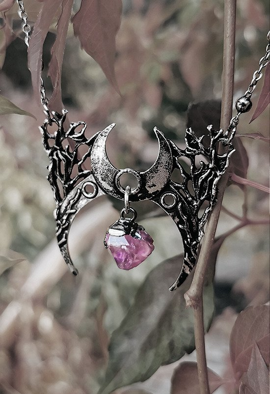 Gothic silver moon necklace with crystal BRANCH CRESCENT