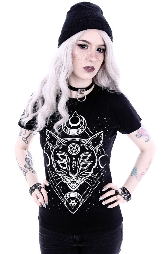 "Gothic t-shirt with a Moon Cat ""GALAXY CAT"""