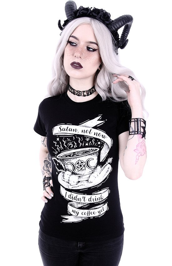 "Gothic t-shirt with a gothic coffee ""SATAN NOT NOW"""