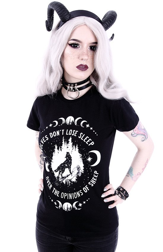 "Gothic t-shirt with a wolf print ""WOLVES"""