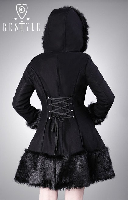 Gothic, winter coat, black wool, gothic lolita, faux fur R-34