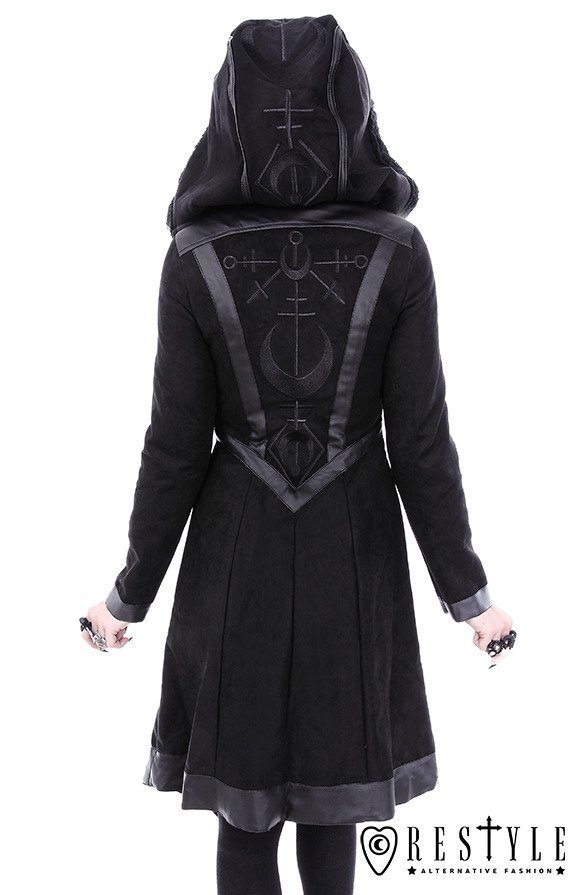 "Gothic winter coat with oversized hood, embroidery ""MOON WITCH COAT"""
