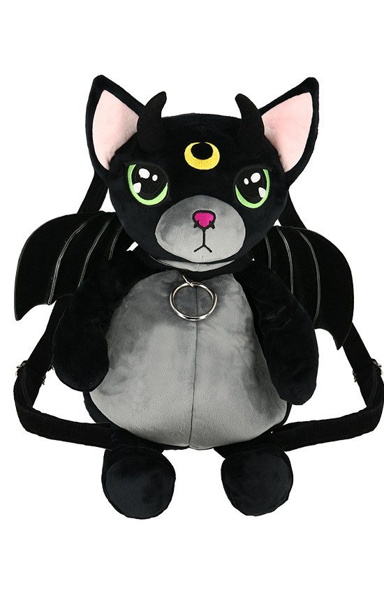 Green Eyed Cat Mascot Gothic Backpack with demon wings