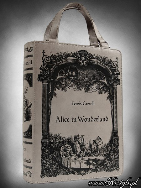 "Grey BOOK bag ""Alice in Wonderland"" gothic lolita handbag, Lewis Carroll"