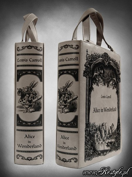 "Grey BOOK bag gothic lolita handbag, Lewis Carroll ""Alice in Wonderland"""