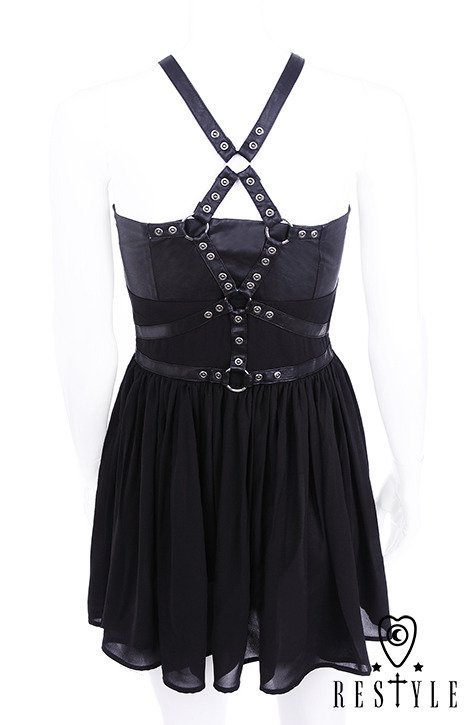 "Black with basquine, leather straps, o-rings, witchy ""HARNESS DRESS"""