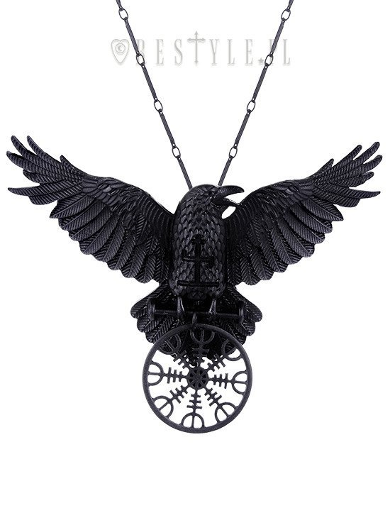 Helm of awe raven pendant nordic protection talisman black crow helm of awe raven pendant nordic protection talisman black crow healing rune aloadofball Images
