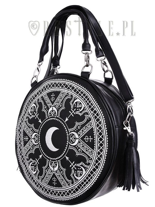"""HENNA WHITE ROUND BAG"" Moon embroidery handbag, witchy purse with moon & tessels"
