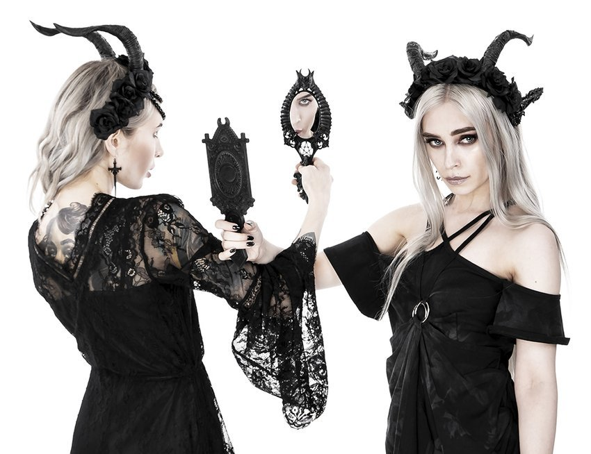 Horns Hand Mirror Gothic Accessory