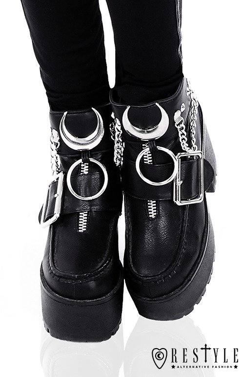 """IRON MOON CUFFS"" Black gothic Moon Ankle bracelets for gothic shoes"