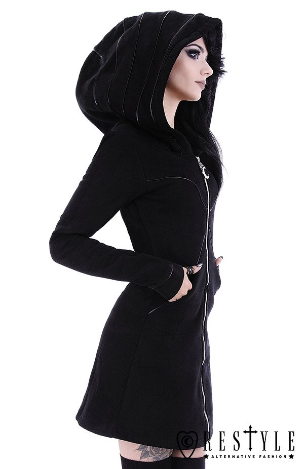 """LAYERED HOODIE"" Long jacket with oversized hood, black riding hood, moon"