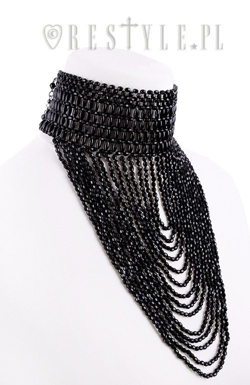 """LEXIE CHOKER"" Big evening collar, black beaded choker, gothic necklace"