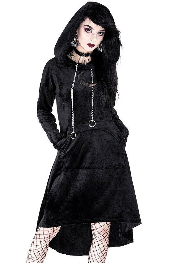 LONG MOON JUMPER, black gothic hoodie dress with mesh moon