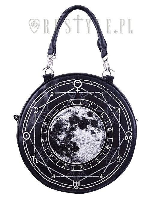 Black Witchy Purse Full Moon Print Bag LUNA ROUND BAG