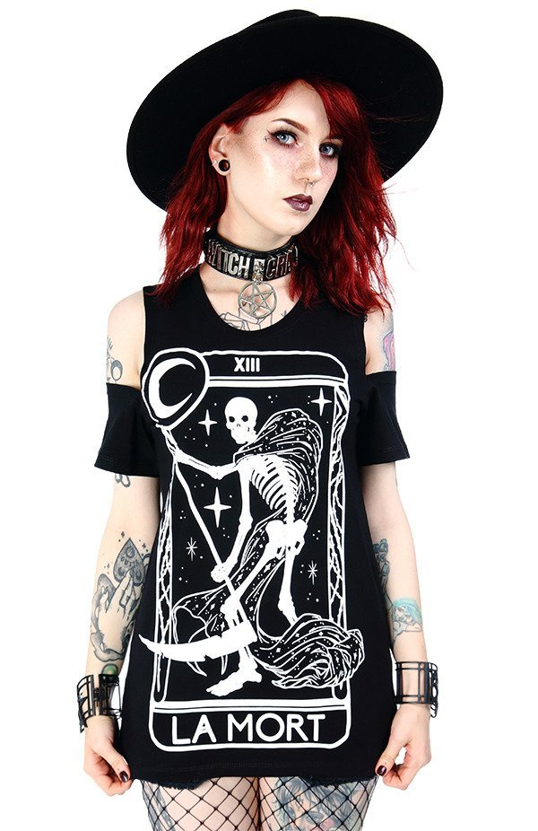 La Mort cold shoulder tshirt death tarot
