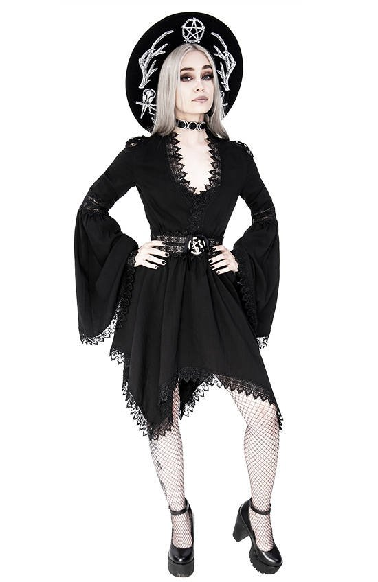 Lace Trim Spectre Tunic Gothic Dress with wide sleeves