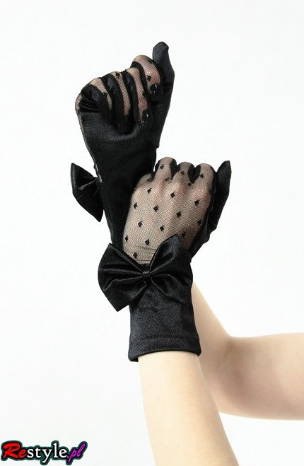 Lace satin gloves with bow