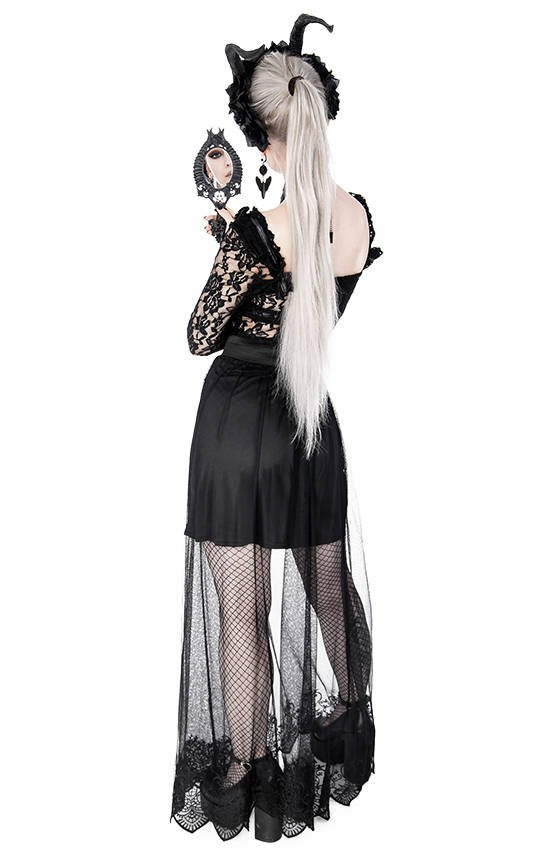 Layered Goth Maxi Skirt with hem embroidery