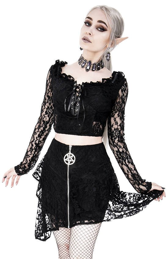 Layered Lace Gothic Skirt with pentagram