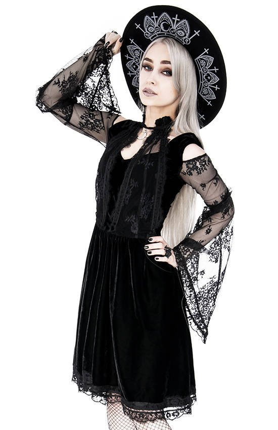 Layered lace gothic dress with a crescent charm