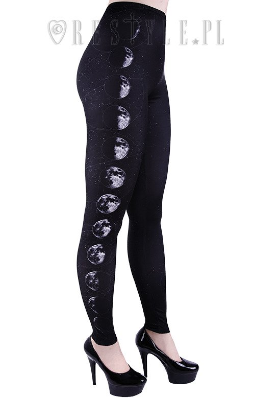 Leggings Map of the stars, black witchy trousers MOON PHASES