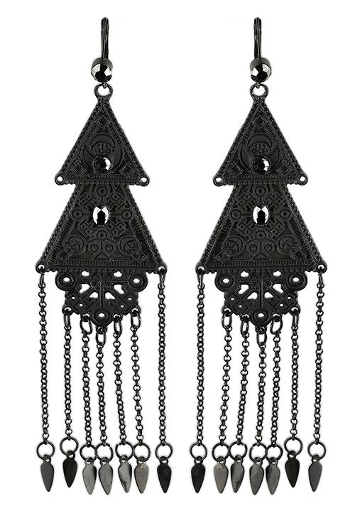 Long Double Triangle Earrings Black