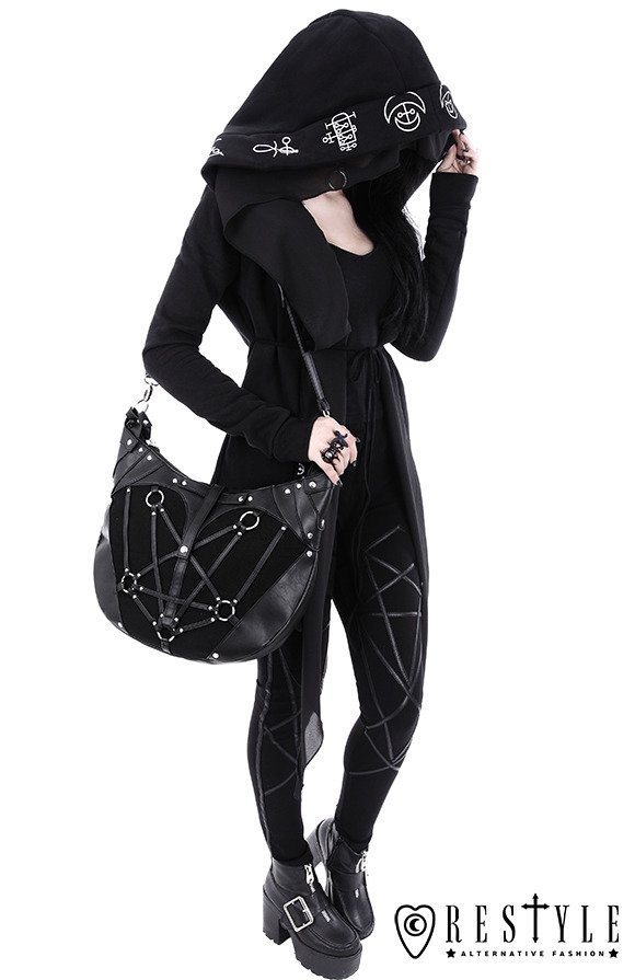 "Long, Gothic jacket with oversized hood ""DEMON HOODIE"""