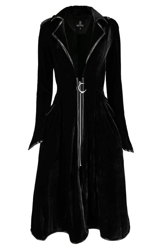 Long Velvet Coat with crescent moon and chains