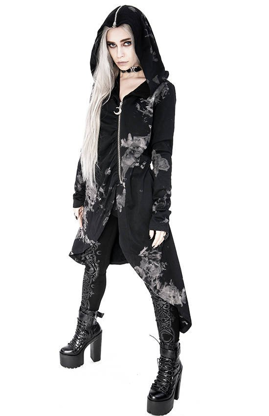 Long asymmetric acid wash Drapped Hoodie