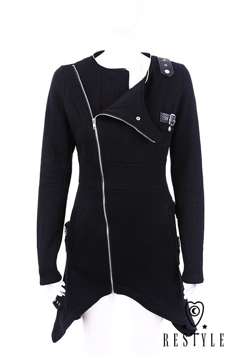 "Long blouse with pockets, detachable hood ""ASYMMETRIC HOODIE"""