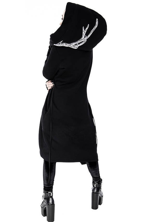 Long, gothic Into the Wild Hoodie with oversized hood and antlers