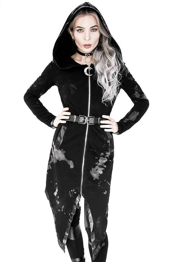 Long gothic acid wash Buckled hoodie