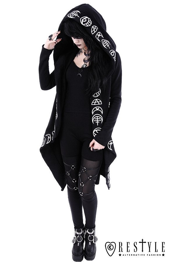 "Long, gothic jacket with oversized hood ""ALL SEEING MOON HOODIE"""