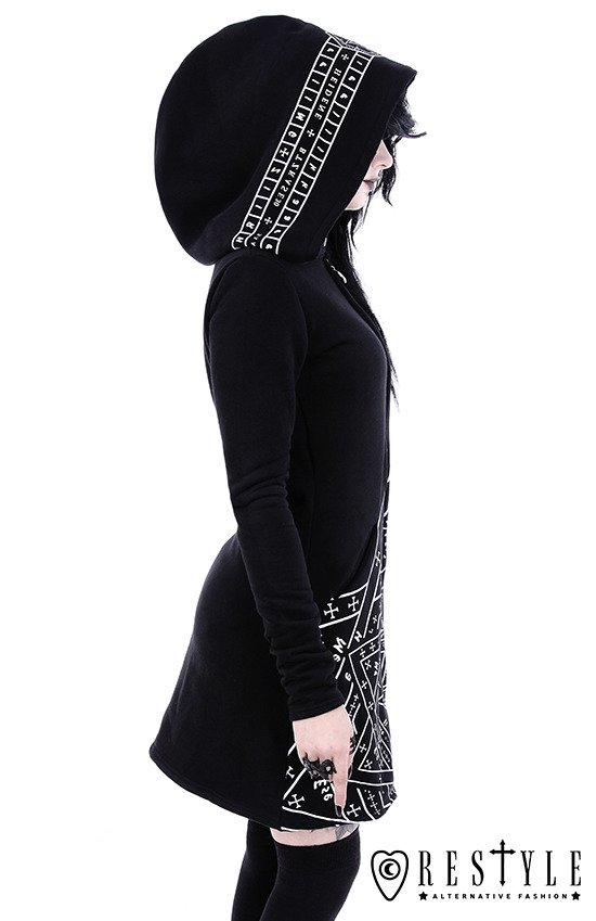 "Long, gothic jacket with oversized hood and print ""SIGILLUM DEI HOODIE"""