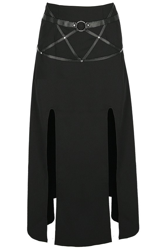 "Long gothic skirt ""VILLAIN SKIRT"" with splits"
