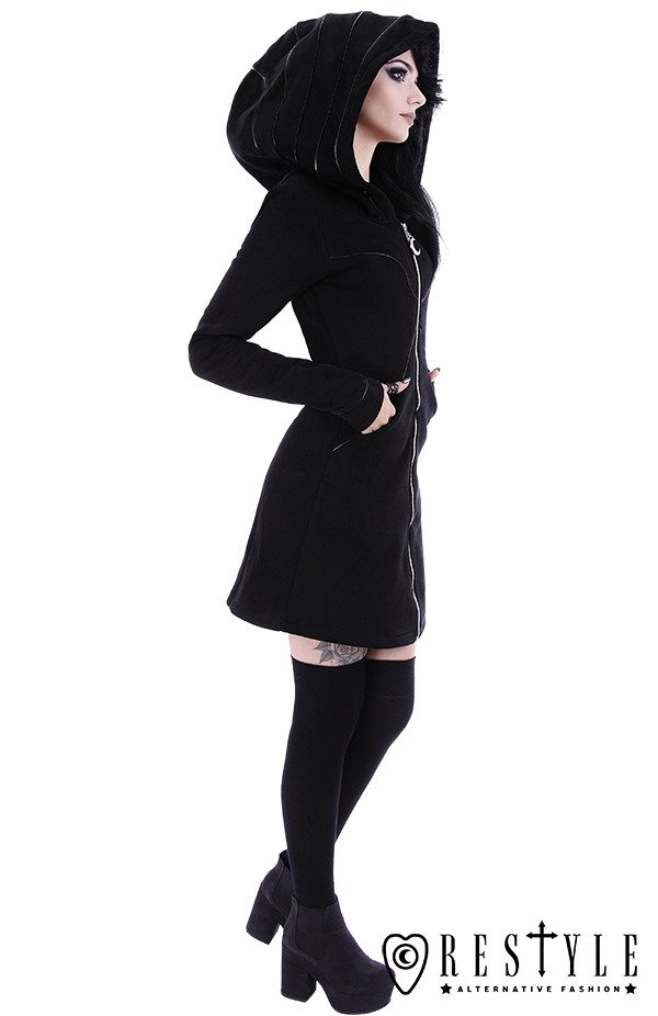 "Long jacket with oversized hood, black riding hood, moon ""LAYERED HOODIE"""