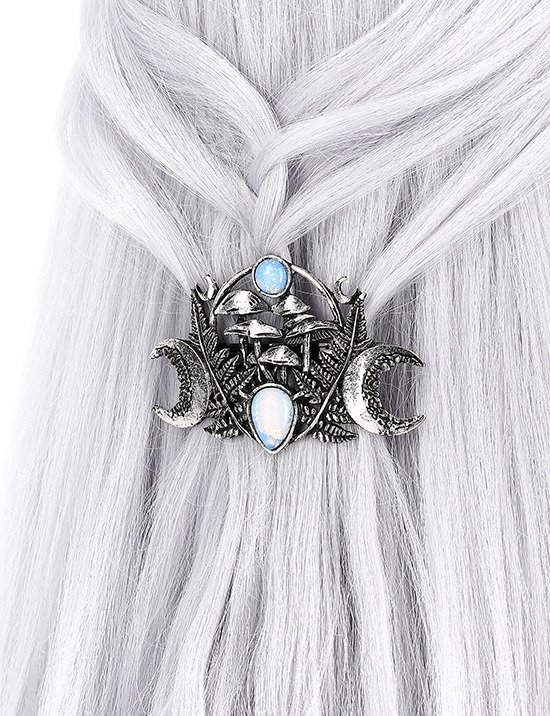 MAGIC FOREST HAIRCLIP Gothic barrette with Moon stone