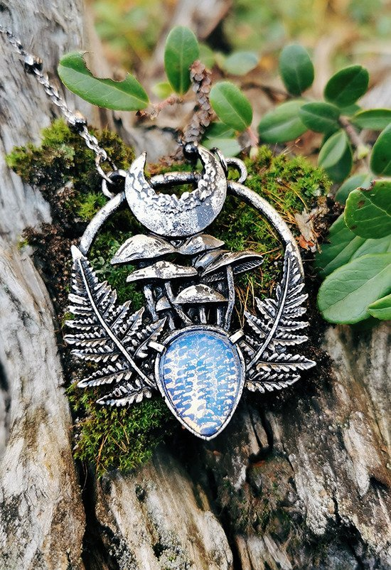 MAGIC FOREST PENDANT with Opal Moon stone