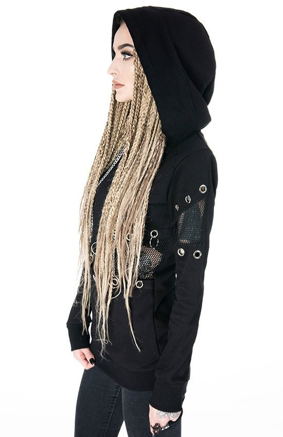 MESH & EYELETS JUMPER Black jumper with O-rings and chains
