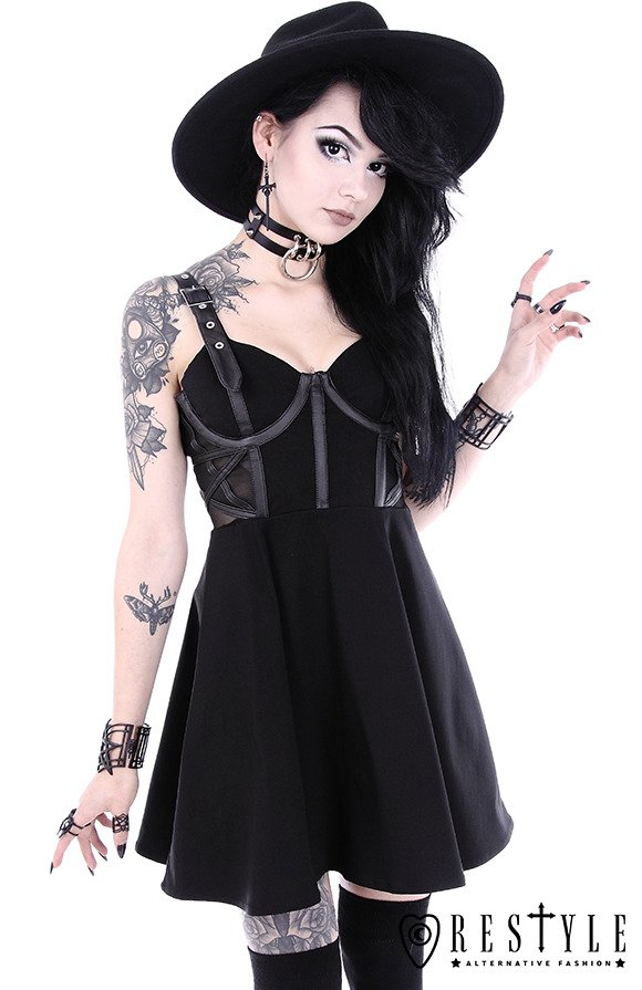 """MESH PENTAGRAM DRESS"" Black gothic dress with pentagram, occult fashion"