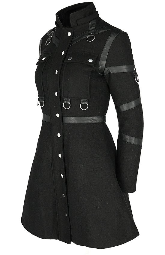 MILITARY COAT Black winter jacket with detachable hood