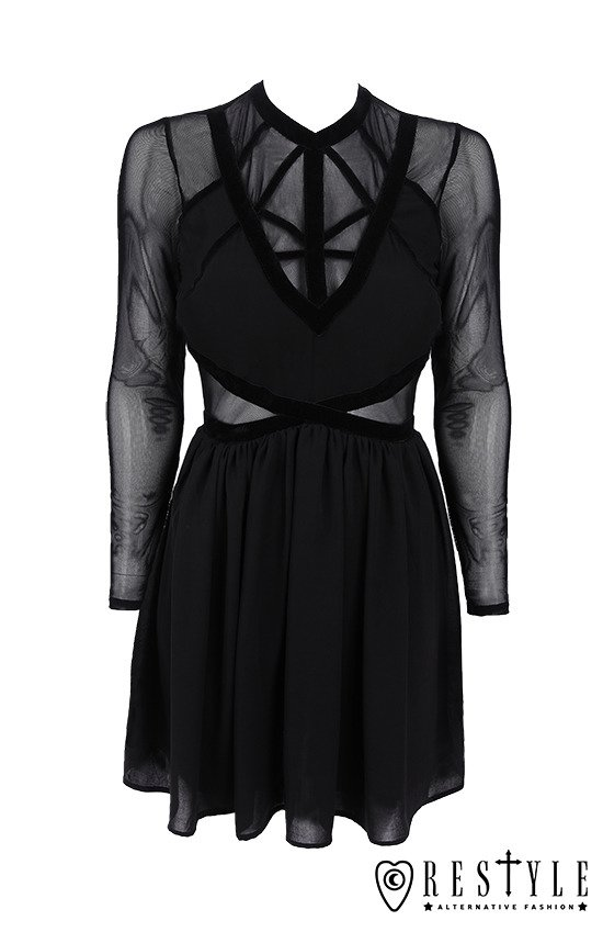 "Black short dress with velvet straps and mesh  ""MIXED STRAPS DRESS"""