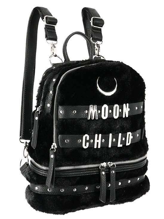 MOON CHILD BACKPACK Black Gothic Fur Bag with crescent