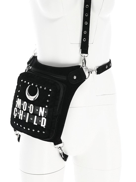 MOON CHILD HOLSTER Black hip bag, pocket belt, moon bag